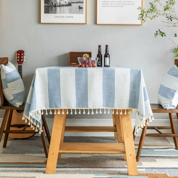 Light Blue High Quality Rectangle Cotton and Linen Tablecloth with Tassels For Dinning Table