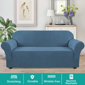Jacquard  Polyester Spandex Fabric One Piece Box  Cushion Loveseat Slipcovers-Denim Blue