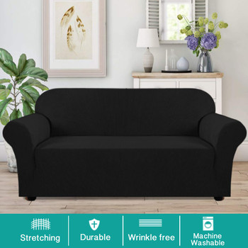 Jacquard  Polyester Spandex Fabric One Piece Box  Cushion Loveseat Slipcovers-Black