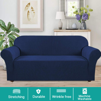 Jacquard  Polyester Spandex Fabric One Piece Box  Cushion Loveseat Slipcovers-Dark Blue