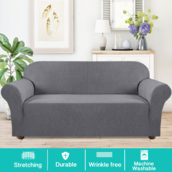 Jacquard  Polyester Spandex Fabric One Piece Box  Cushion Loveseat Slipcovers-Grey