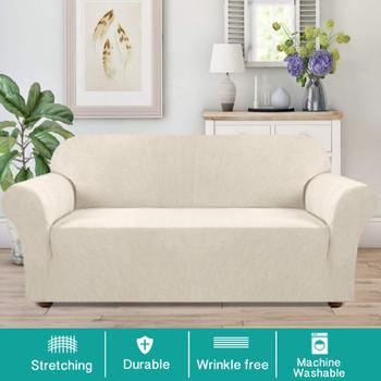 Jacquard  Polyester Spandex Fabric One Piece Box  Cushion Loveseat Slipcovers-Ivory