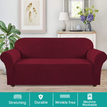 Jacquard  Polyester Spandex Fabric One Piece Box  Cushion Loveseat Slipcovers-Wine Red