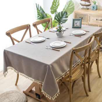 High Quality Grey Rectangle Cotton and Linen Tablecloth