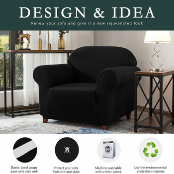 Black Jacquard Polyester Spandex Fabric Box Cushion Armchair Slipcover