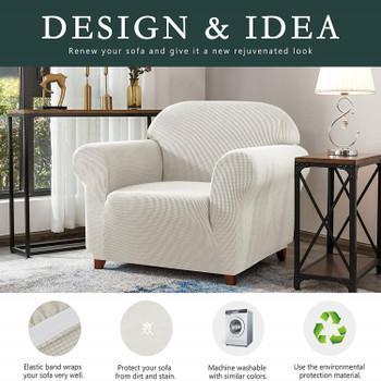 Ivory White Jacquard Polyester Spandex Fabric Box Cushion Armchair Slipcover