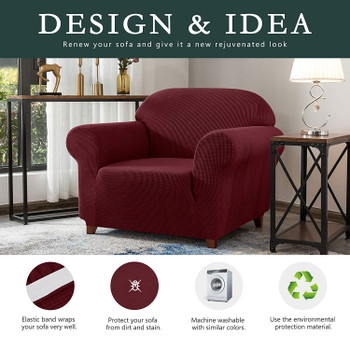 Wine Red Jacquard Polyester Spandex Fabric Box Cushion Armchair Slipcover