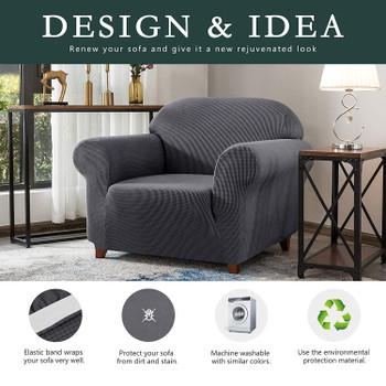 Grey Jacquard Polyester Spandex Fabric Box Cushion Armchair Slipcover