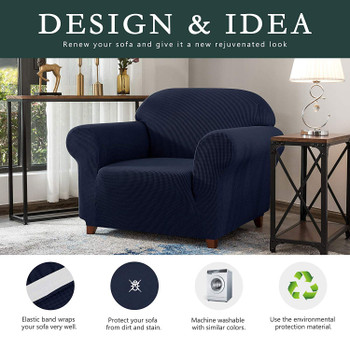 Dark Blue Jacquard Polyester Spandex Fabric Box Cushion Armchair Slipcover
