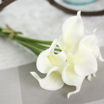 8 pcs Artificial Calla Lily Real Touch Flower for Bride Wedding Home Decoration