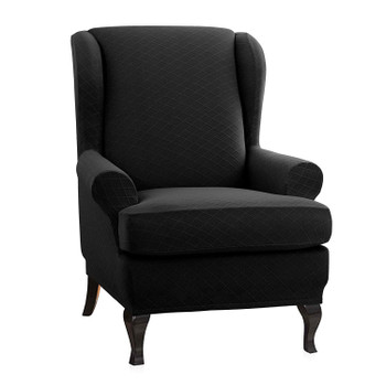 Black Super Stretch Rhombus Jacquard Spandex Fabric 2 Pieces T-Cushion Wingback Slipcover