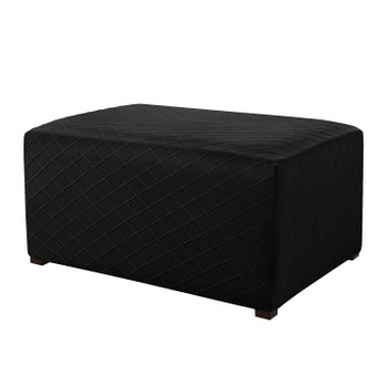 Black Ultra Soft Rhombus Jacquard Polyester Stretch Fabric  Oversized Ottoman Slipcover
