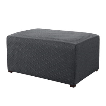 Grey Ultra Soft Rhombus Jacquard Polyester Stretch Fabric  Oversized Ottoman Slipcover