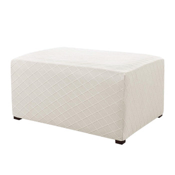 Ivory Ultra Soft Rhombus Jacquard Polyester Stretch Fabric  Oversized Ottoman Slipcover