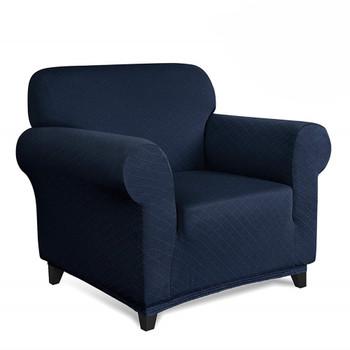 Dark Blue Ultra Soft Rhombus Jacquard Polyester Spandex Fabric Box Cushion Armchair Slipcover