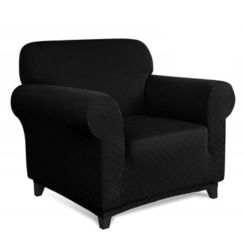 Black Ultra Soft Rhombus Jacquard Polyester Spandex Fabric Box Cushion Armchair Slipcover