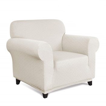 Ivory Ultra Soft Rhombus Jacquard Polyester Spandex Fabric Box Cushion Armchair Slipcover