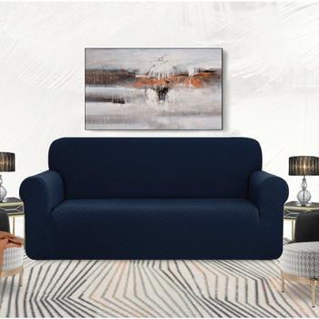 Dark Blue Ultra Soft Rhombus Jacquard Polyester Spandex Fabric Box Cushion Loveseat Slipcover