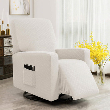 Ivory Ultra Soft Rhombus Stretch Fabric  Recliner Slipcover with Elastic Bottom Side Pocket