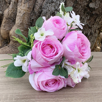 Pink Artificial Open Rose Flower Bouquet