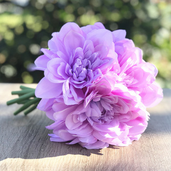 Purple Artificial Dahlia Flower Bouquet