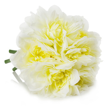 Cream Silk Dahlia  Arrangement in Clear Glass Vase With Faux Water
