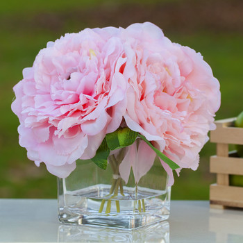 Pink Silk Peony Arrangement in Cube Glass Vase With Faux Water