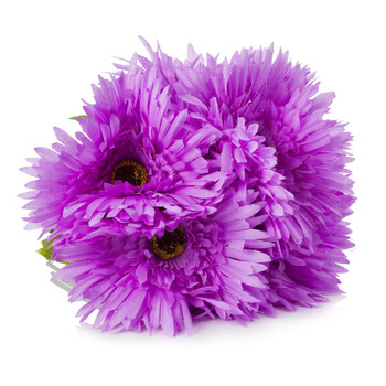 Purple Silk Daisy Flower Arrangement in Clear Glass Vase With Faux Water