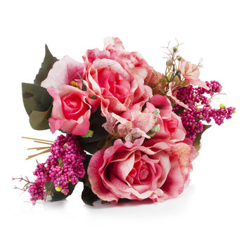 Pink Mixed Silk Rose Flower  Arrangement in  Glass Vase With Faux Water and River Stone
