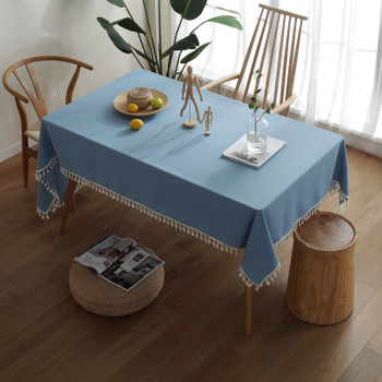 High Quality Blue Rectangle Cotton and Linen Tablecloth