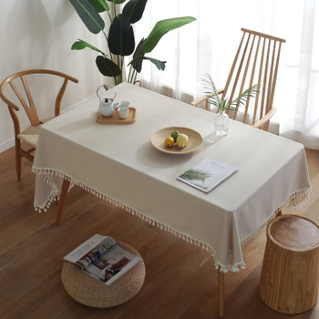 High Quality Cream Rectangle Cotton and Linen Tablecloth