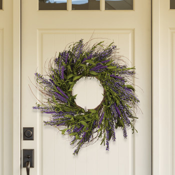 "24"" Lavender Mixed Artificial Flower Wreath"