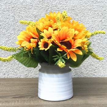 Mixed Silk Sunflower Arrangement in White Ceramic Vase