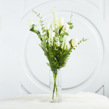 Cream Mixed Silk Tulip Flower in Clear Glass Vase With Faux Water