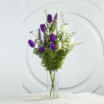 Purple Cream Mixed Silk Tulip Flower in Clear Glass Vase With Faux Water