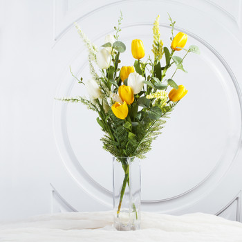 Yellow Cream Mixed Silk Tulip Flower in Clear Glass Vase With Faux Water