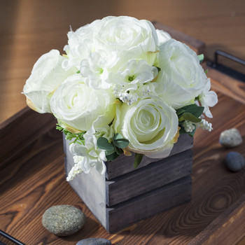Cream Mixed Rose Flower Arrangement in Wood Planter