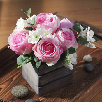 Pink Mixed Rose Flower Arrangement in Wood Planter