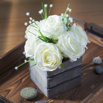 Cream Mixed Rose Flower Arrangement With Wood Planter