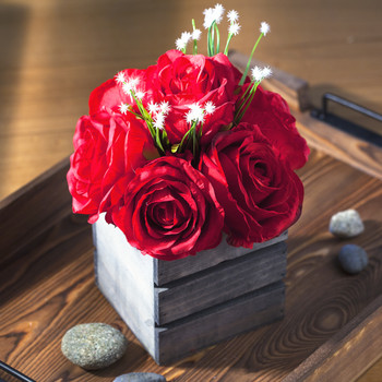 Red Mixed Rose Flower Arrangement With Wood Planter