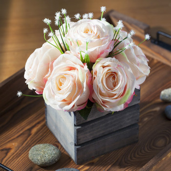 Pink Mixed Rose Flower Arrangement With Wood Planter