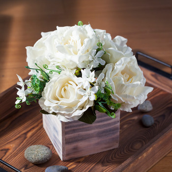 Cream Mixed Rose Flower Arrangement in Natural Wood Planter