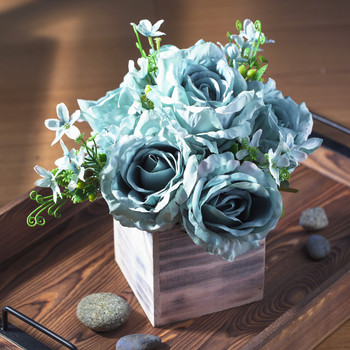Aqua Mixed Rose Flower Arrangement in Natural Wood Planter