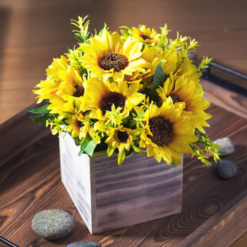 Mixed Sunflower Arrangement in Natural Wood Planter