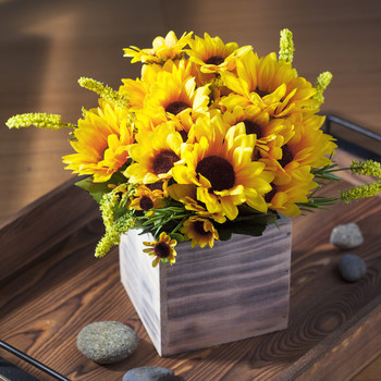 Mixed Sunflower Arrangement in Wood Planter