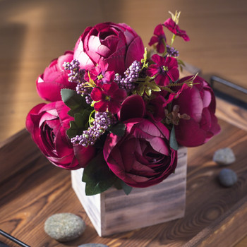 Wine Mixed Peony Flower Arrangement in Natural Wood Planter