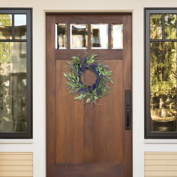 "24"" Artificial Lavender Flower Wreath For Home Decoration"
