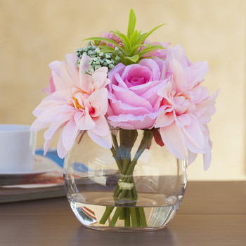 Mixed Pink Silk Rose and Dahlia Flower Arrangement in Clear Glass Vase With Faux Water