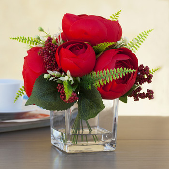 Mixed Red Silk Peony Flower in  Cube Glass Vase With Faux Water