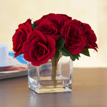 Red Velvet Rose Flower Arrangement  in Cube Glass Vase With Faux Water
